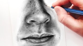 How to Draw a Nose and Mouth with Graphite Pencils | Realistic Drawing Tutorial