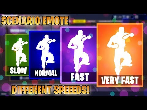 FORTNITE SCENARIO EMOTE AT DIFFERENT SPEEDS! (SLOW, NORMAL, FAST, VERY FAST...)