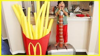 Kid eats Giant McDonald's Fries! Pretend Play Food with McDonald's Drive Thru