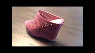 Mark And Muddux Diego 05 Laser Cut Wrapped Heel Wedges Fuchsia Sandals