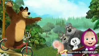 Маша и медведь. Медведь катается на велосипеде.