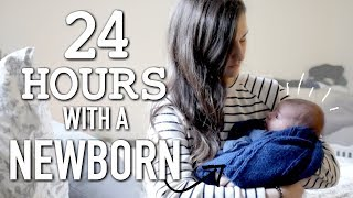 24 HOURS WITH A NEWBORN BABY || DAY IN THE LIFE  OF A MOM OF 2 || BETHANY FONTAINE