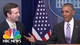 President Obama Surprises Josh Earnest at Last Press Briefing | NBC News