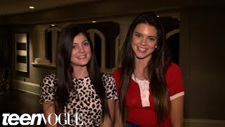 Kylie and Kendall Jenner on the set of their Teen Vogue shoot