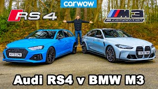 BMW M3 v Audi RS4 review & 0-60mph, 1/4-mile, brake and drift comparison!