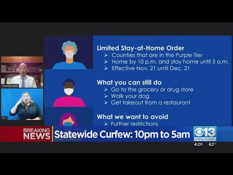 Statewide Curfew Announced For Counties In Purple Tier