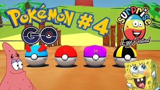 3D surprise eggs pokemon go 4 spongebob and patrick cartoon for kids
