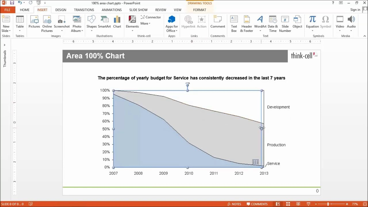 Features charting excel data links and slide layout think cell area 100 chart ccuart Choice Image