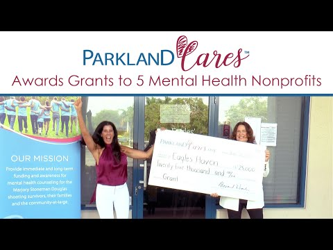 """Parkland Cares provides grants to nonprofit mental health and trauma counseling organizations and acts as a centralized resource to assist people in finding the help they need. In the age of COVID-19, Parkland Cares awarded $125,000 at an uplifting virtual """"pass the check-presentation.""""  The latest round of grants brings the total amount awarded to $575,000 in the past two and half years.  To donate or get more information on Parkland Cares visit www.ParklandCares.org."""