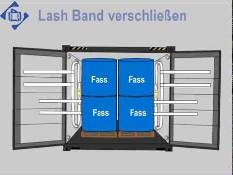 Spezial-Lashing für Fässer im Container Variante 2
