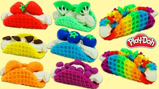 How to Make Delicious Looking Rainbow Play Doh Waffle Tacos | Fun & Easy DIY Play Dough Art!