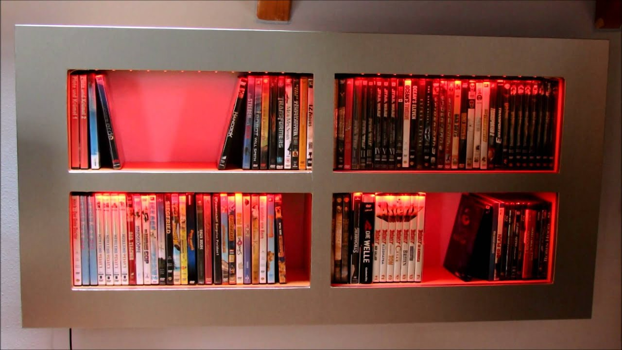 DVD/Bluray Regal Selbstgebaut Mit LED Beleuchtung