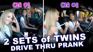 2 Sets of Identical Twins Drive Thru Prank ft. Rybka Twins - Merrell Twins