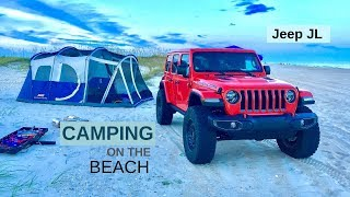 JEEP JL camping on the beach in the outer banks of North Carolina