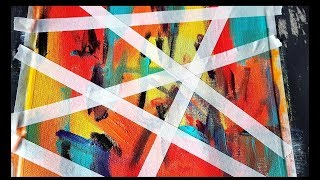 Simple and Colorful Abstract Painting / Using Acrylics and Masking tape / Demonstration