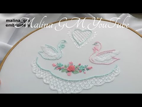 Hand Embroidery: wedding embroidery | Вышивка: Два лебедя