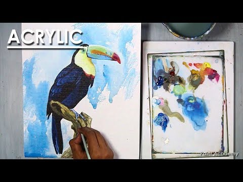 How to Paint Bird in Acrylic : Toucan Bird | step by step