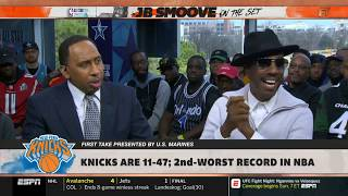 "Stephen A. Smith & JB Smoove HARSH REACTION ""Did you like Kristaps Porzingis trade?"" 
