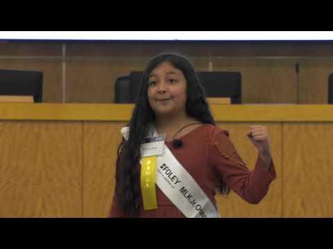 Vivianna Serna, fourth-grader from Crespo Elementary School, recites her speech during the 25th Annual Foley & Lardner MLK Jr. Oratory Competition Jan. 15 in Houston.