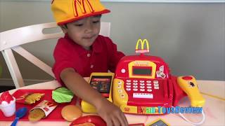 Ryan Pretend Plays with McDonald's Toys and Power Wheels