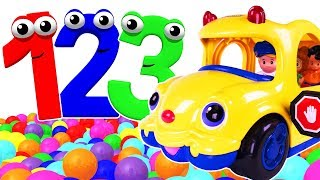 Kids Learn Colors & 123s with Bus Toy | Counting Numbers 1 to 10 for Children | ABC Song, Fun Rhymes