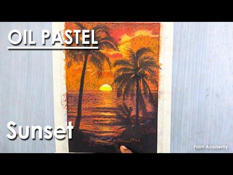 Oil Pastel Drawing : A Beautiful Sunset