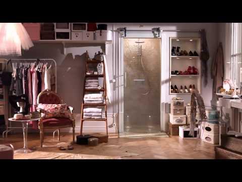 Garderobe med dusj, skjyvedør, glassdør | INR