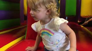 Funny Sophie plays at indoor amusement park for kids, silly Sophie