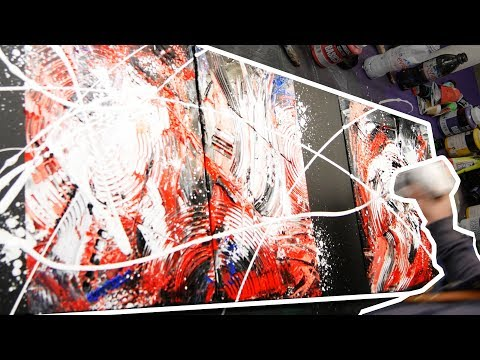 Abstract Painting Acrylics demo with knife and masking tape | Perception