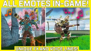 All Apex Legends Emotes Shown In-Game With Sound Effects! - Unique FX And Voice Lines!
