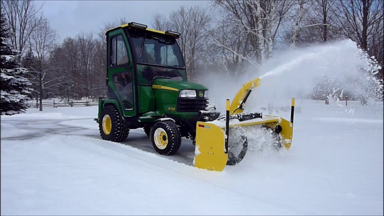 John Deere X748 54 Inch Snow Blower Quick Cleanup Youtube