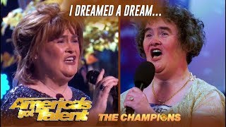"""Susan Boyle: Recreates Her VIRAL """"I Dreamed A Dream"""" Moment   AGT Champions"""