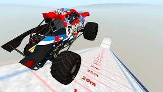 WHICH MONSTER SIZED CAR CAN FLY THE FURTHEST ON SKI JUMP MAP?! - BeamNG Drive