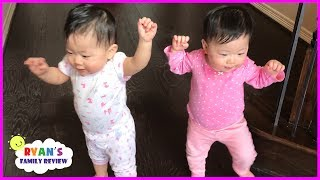 Twin Babies Walking for the First Time! Family Fun Daily Vlog with Ryan's Family Review