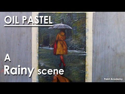 Oil Pastel Drawing : A Composition on A Rainy Scene