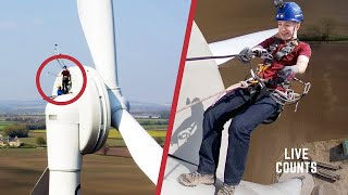 Taking The Emergency Exit From A Wind Turbine ! Tom Scott! Live Counts