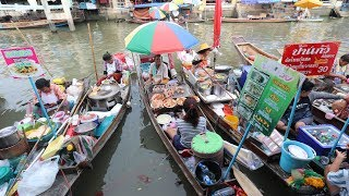 Thai FLOATING MARKET Street Food Tour Amphawa Market in Thailand