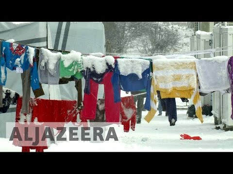 Helpless refugees Freezing in cold-hit Greece.