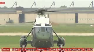 President Donald Trump Arrives in Pennsylvania for Rally in Harrisburg Trump 100 Days Celebration