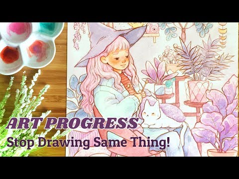 PROGRESS IN ART ♥︎ Do I NEED to change? || Watercolor illustration