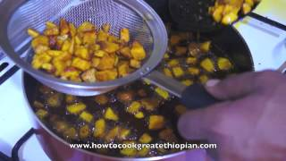 Ethiopian Food - Fried Fish with Mitmita Pumpkin n Ginger & Tomato Sauce (Duba Asa)