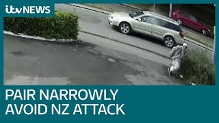 Christchurch CCTV shows late father and son making narrow escape from NZ gunman | ITV News