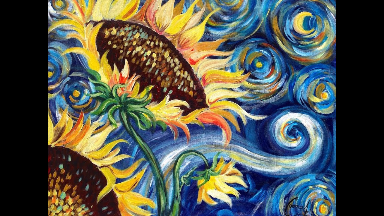 How To Paint Vincent Van Gogh Starry Night Sunflowers