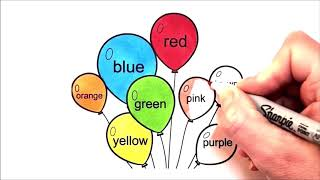 Learn Colors Balloons Coloring Book Pages Kids Learn Colours Picture Sheet Toddlers Learn Colors