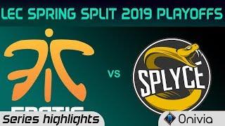 FNC vs SPY Highlights All Games LEC Spring 2019 Playoffs Fnatic vs Splyce LEC Highlights By Onivia