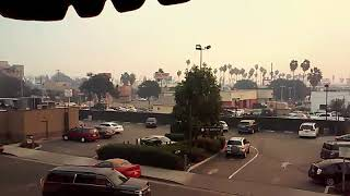 Smoke covers Van Nuys. Ca. From. Sylmar fire.