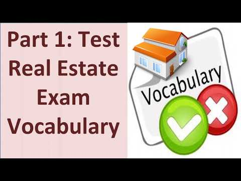 Real Estate Exam Vocabulary Test - Part 1 with 50 Questions and Answers