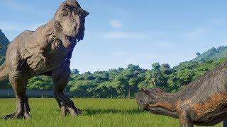 T-Rex(Modified) VS I-Rex, I-Raptor, Spinosaurus, Carnotaurus and Allosaurus - JWE