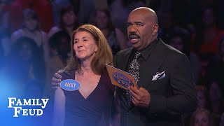 Phil racks up 171 points! Can Becky close out Fast Money for $20,000? | Family Feud