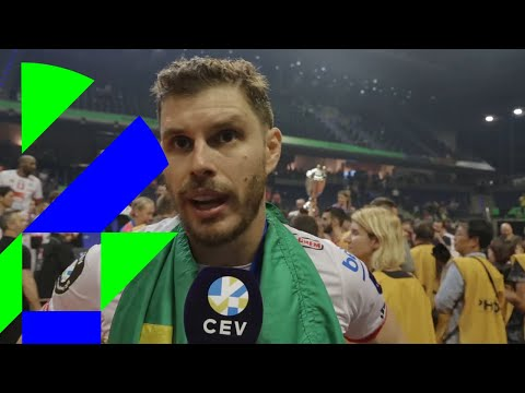 #SuperFinalsBerlin   Bruno Rezende and Dragan Stankovic react on their #CLVolleyM title
